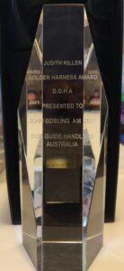 Judith Killen Golden Harness Award D.G.H.A. Presented to John Gosling AM 2021 Dog Guide Handlers Australia